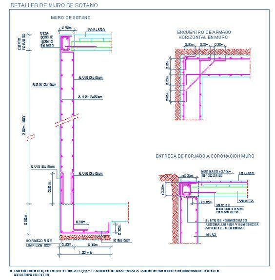Detalle de muro de sotano de hormig n armado y entrega de for Detalle suelo tecnico