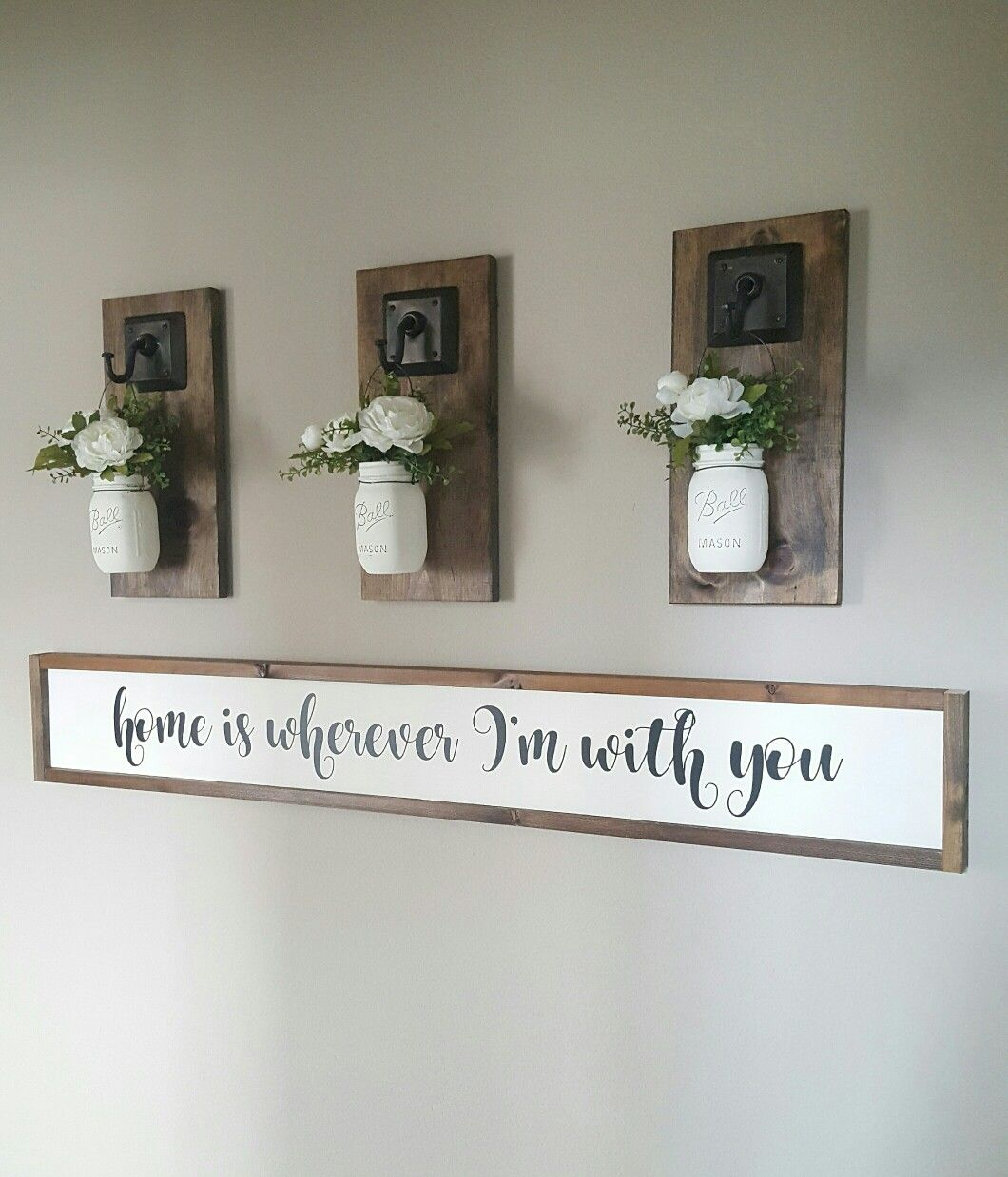 Home Decor Mason Jars And Wood Sign I To Craft And Build Things For My Home Farmhouse Shelves Decor Farmhouse Shelves Farmhouse Decor Living Room