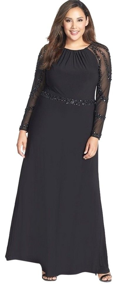 Black Beaded Evening Gown Formal Dress | Beaded evening gowns, Size ...