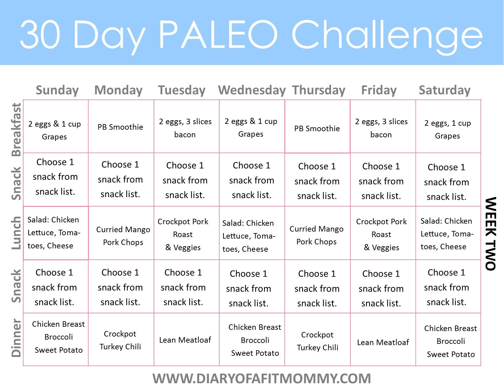 30 Day Paleo Challenge Diary Of A Fit Mommy 30 Day Paleo Challenge Paleo Challenge How To Eat Paleo