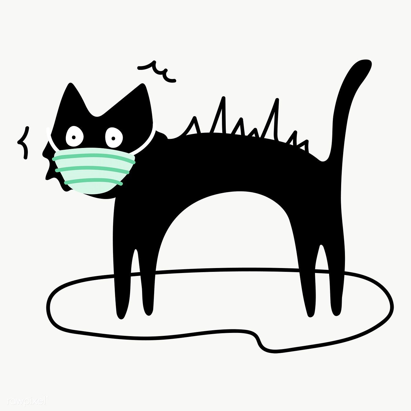 Black Cat Wearing A Surgical Mask Transparent Png Free Image By Rawpixel Com Ningzk V In 2020 Cat Illustration Black Cat Cat Character