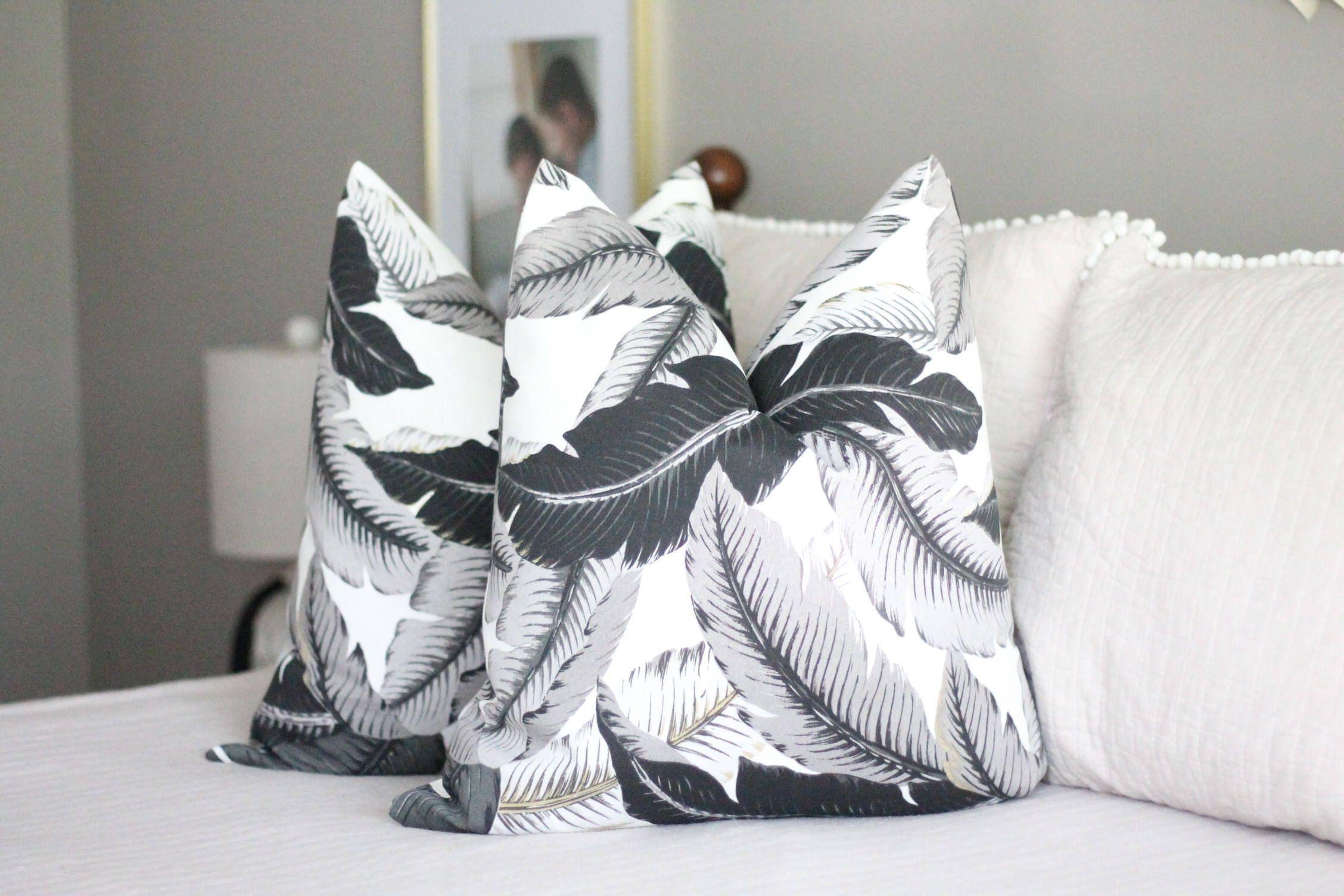 Banana leaf palm print pillow cover tommy bahama fabric palm