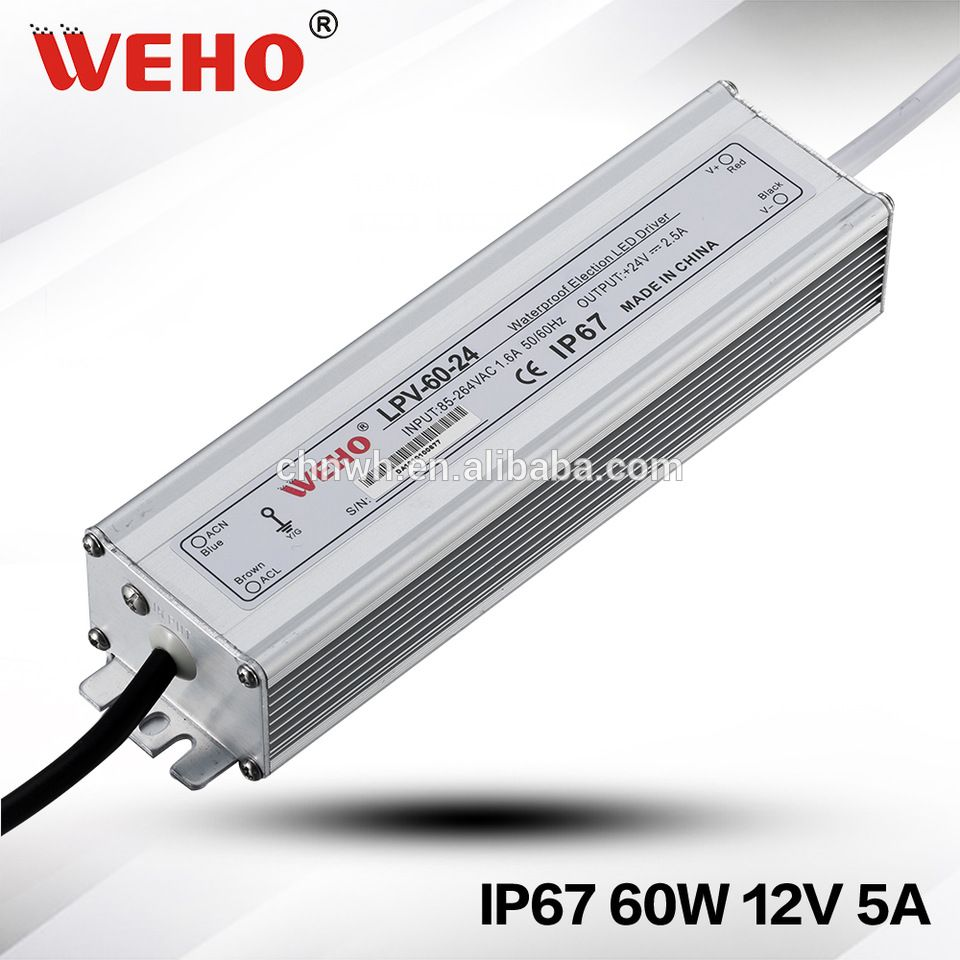 Weho Manufacturer Ip67 Waterproof Power Supply 60w 5a Led Driver 12v Led Power Supply Waterproof Led Power Supply