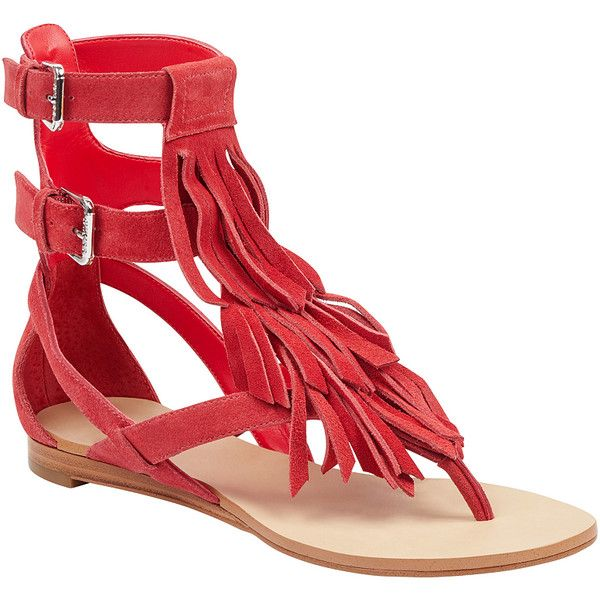 9254f8c1242 GUESS Bari Fringe Sandals ( 99) ❤ liked on Polyvore featuring shoes ...