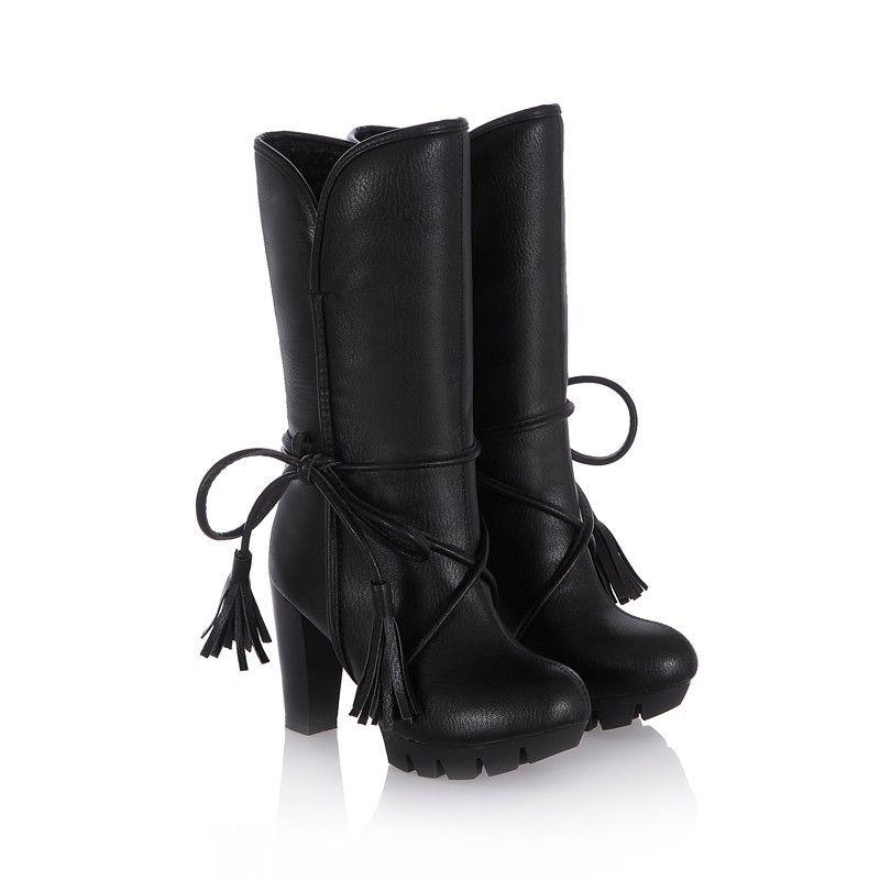 Buty Damskie Kozaki Fredzle Plush Czarne Bez 34 43 Botas Femininas Botas Longas Sapatos Fashion