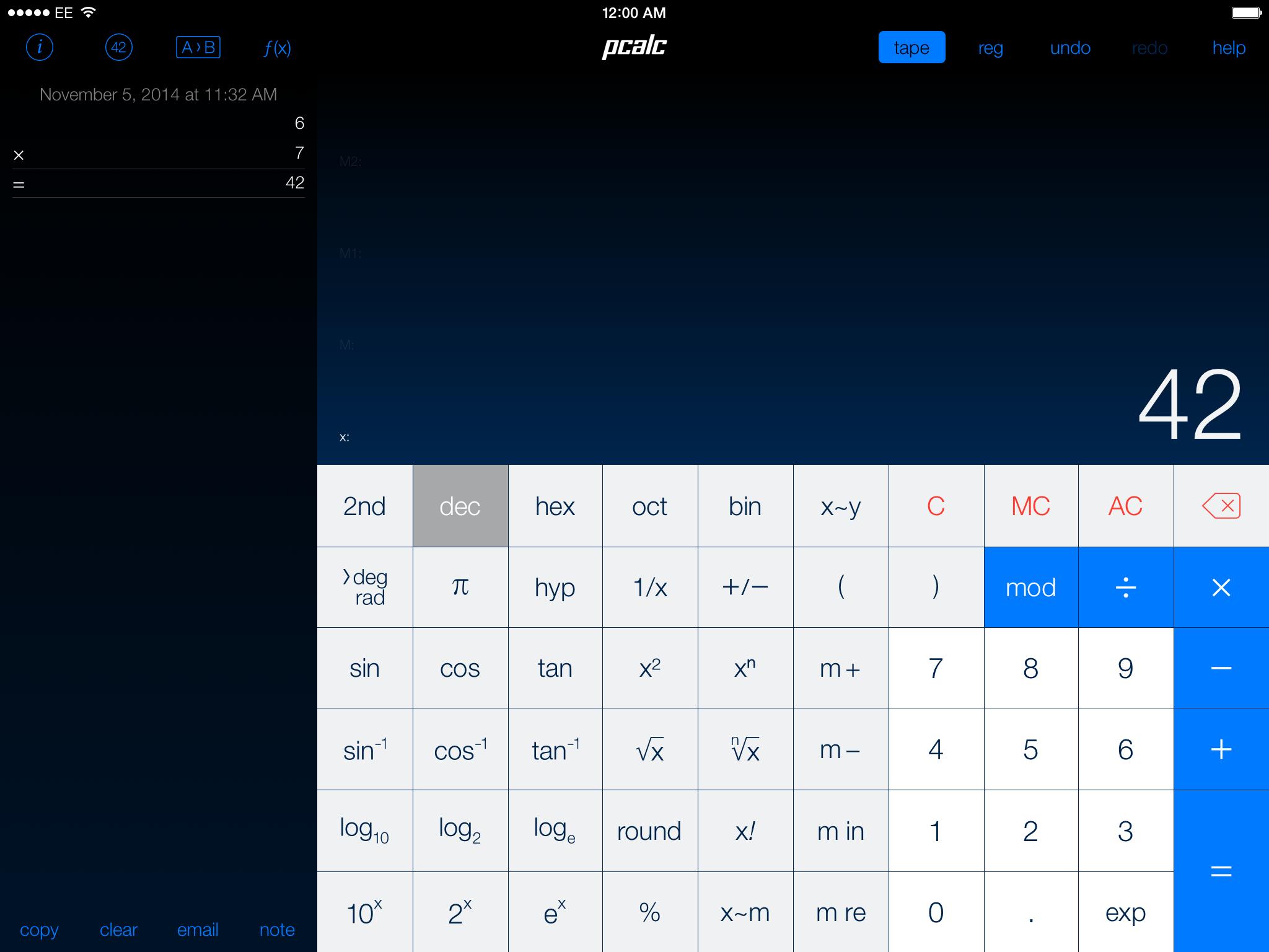 . On iPad, PCalc has a bigger display font, adds a toolbar