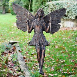 Large Bronze Effect Fairy On A Swing