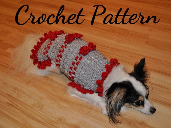 CROCHET PATTERN, Small Dog Sweater, Ribbons and Bows Sweater, Pet ...