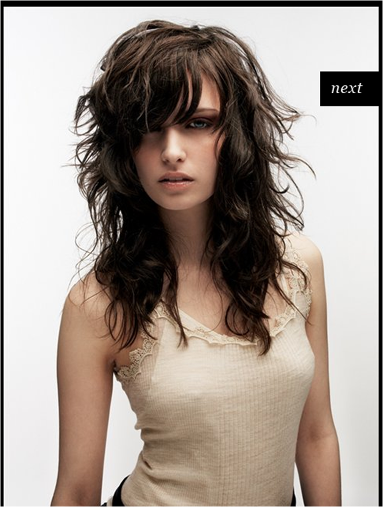 Long Choppy Layers Side Swept Bangs For People Who Have Wavy Hair