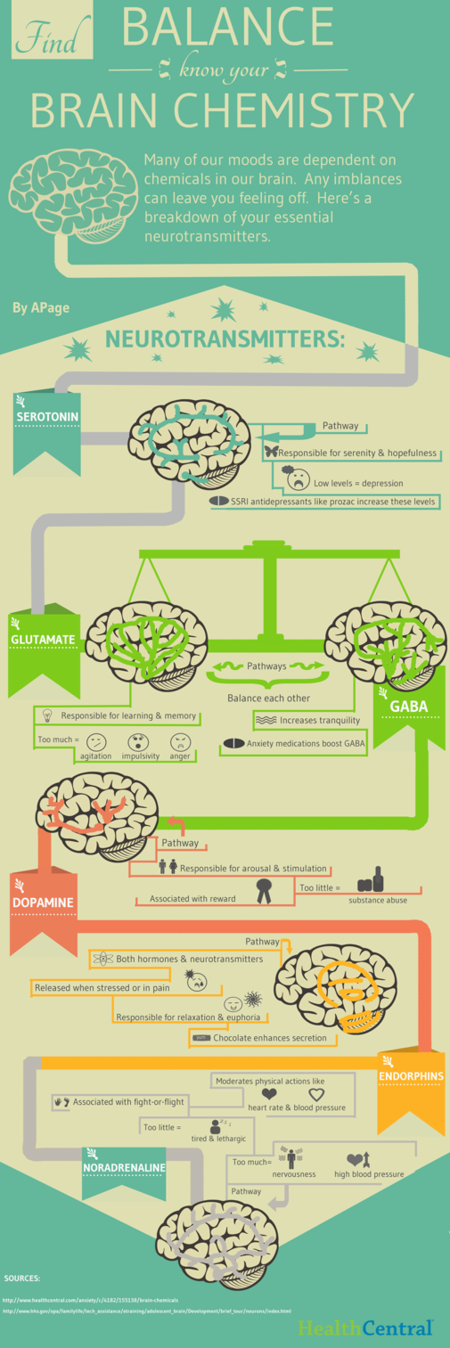 Many of our moods are dependent on brain chemistry. Here is a breakdown of the essential neurotransmitters that control our moods.