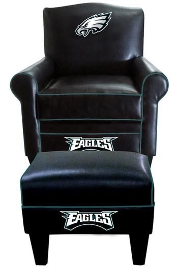 Philadelphia Eagles Leather Game Time Chair And Ottoman