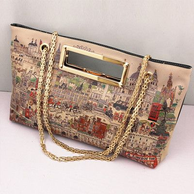 2013 Fashion women's handbag doodle oil painting shoulder bag Vintage Day Cluthes Bags Free Shipping $16.99