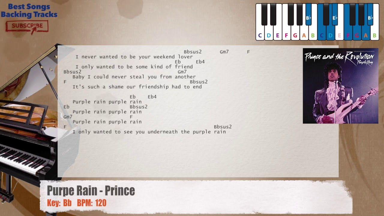 Purple Rain Prince Piano Backing Track With Chords And Lyrics