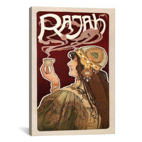 "iCanvasART Rajah (coffee) Vintage Poster Canvas Print #5199 19""x13"" (1.5"" Deep) iCanvasART http://www.amazon.com/dp/B0091W110G/ref=cm_sw_r_pi_dp_1v67tb0AWHXE3"