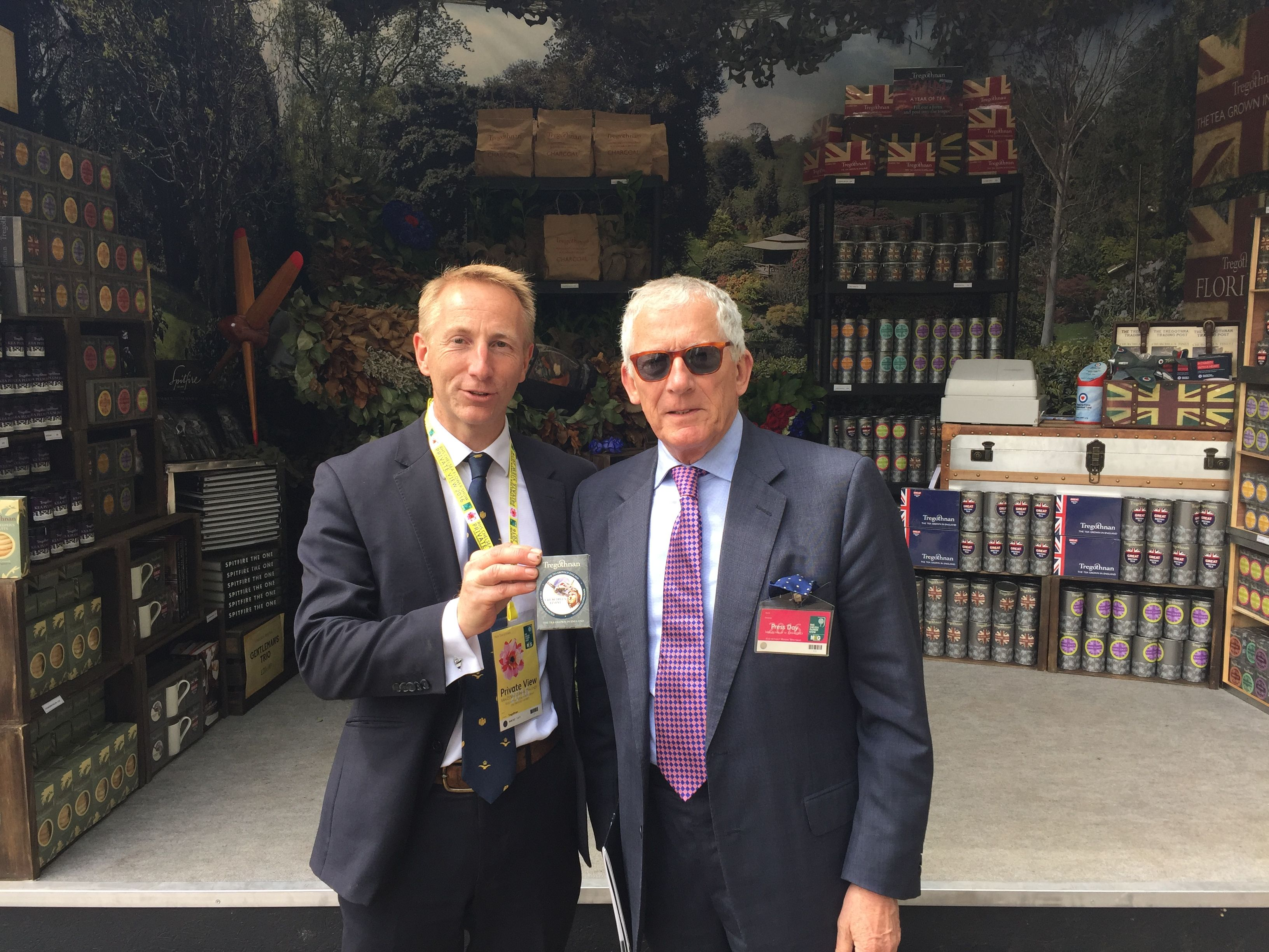 Countdown host Nick Hewer stops by the Tregothnan stand at the RHS Chelsea Flower Show.