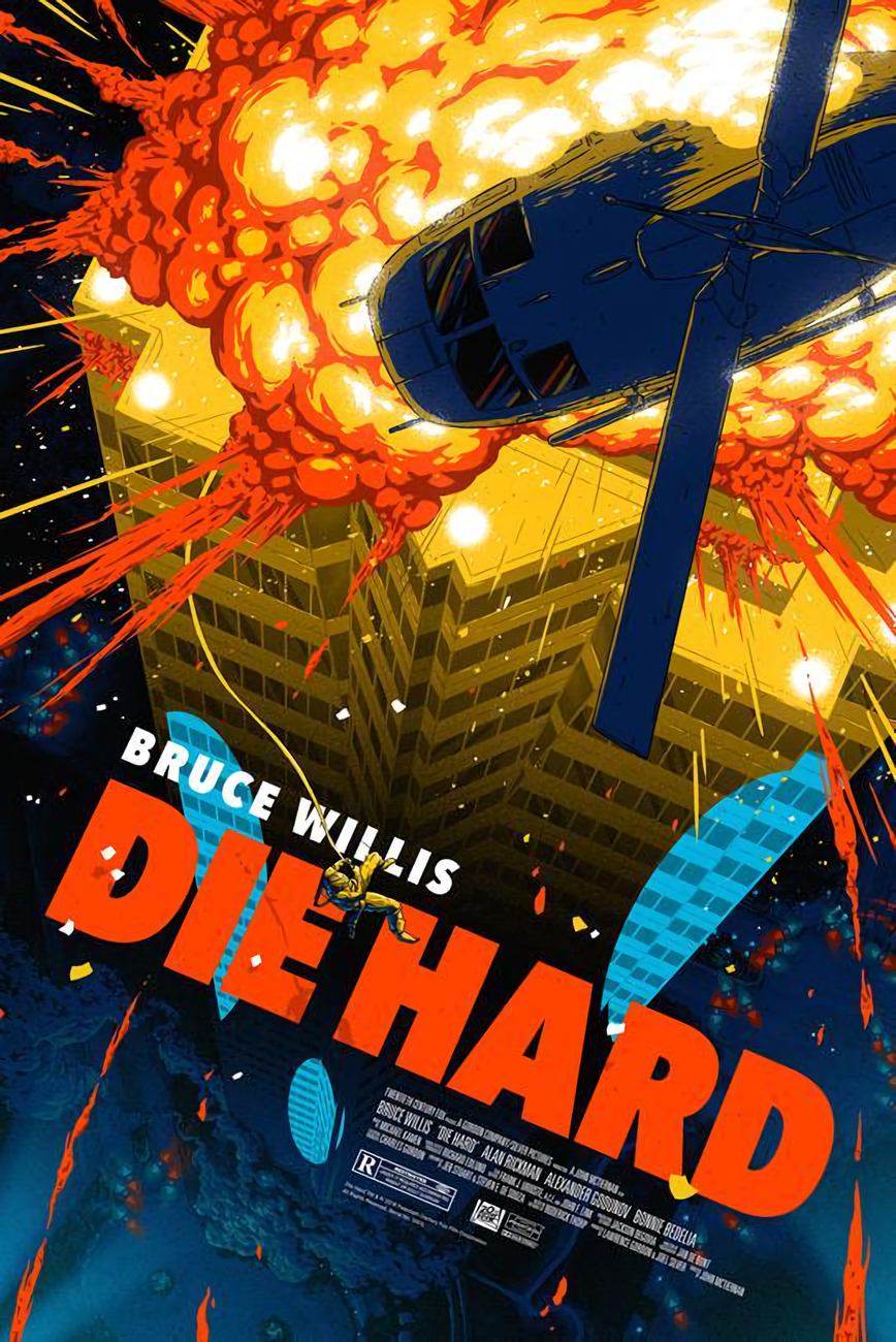 Die Hard Is One Of The Futuristic Movies That Portray The Future With Its Negative Aspects In That Future World Skys Movie Posters Film Posters Art Hard Movie