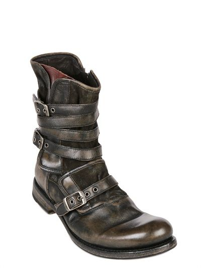 John Varvatos Triple Buckle Cordovan Leather Boots Mens