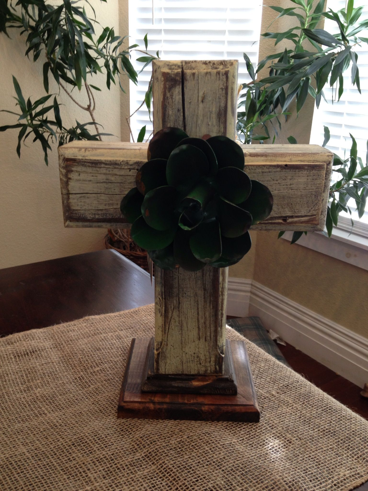This Cross Is Made From 4x4 Pressure Treated Lumber Is And Painted A Light Yellow Butter Color With A Green Metal Flow Crosses Decor Wooden Cross Metal Flowers