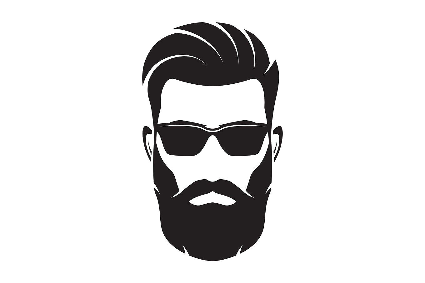 bearded men face hipster character