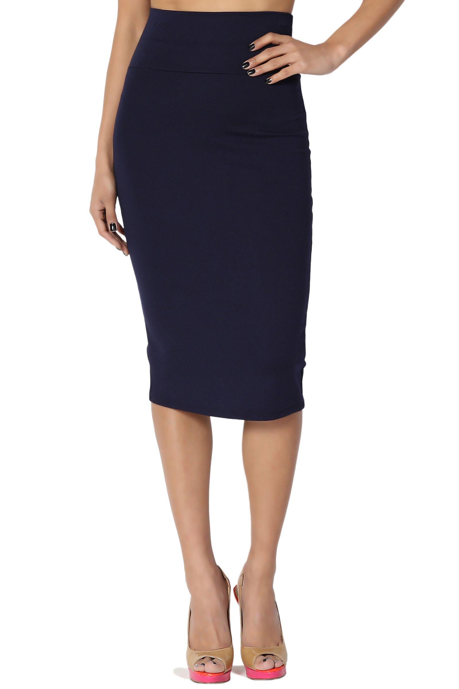 1a644770b TheMogan Women's Foldover Waistband High Waist Pull On Stretchy Pencil Midi  Skirt#Waistband, #High, #Foldover