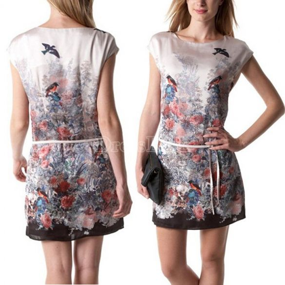 Women's Bird Floral Printed Crewneck Sleeveless A-line Mini Dress With Belt
