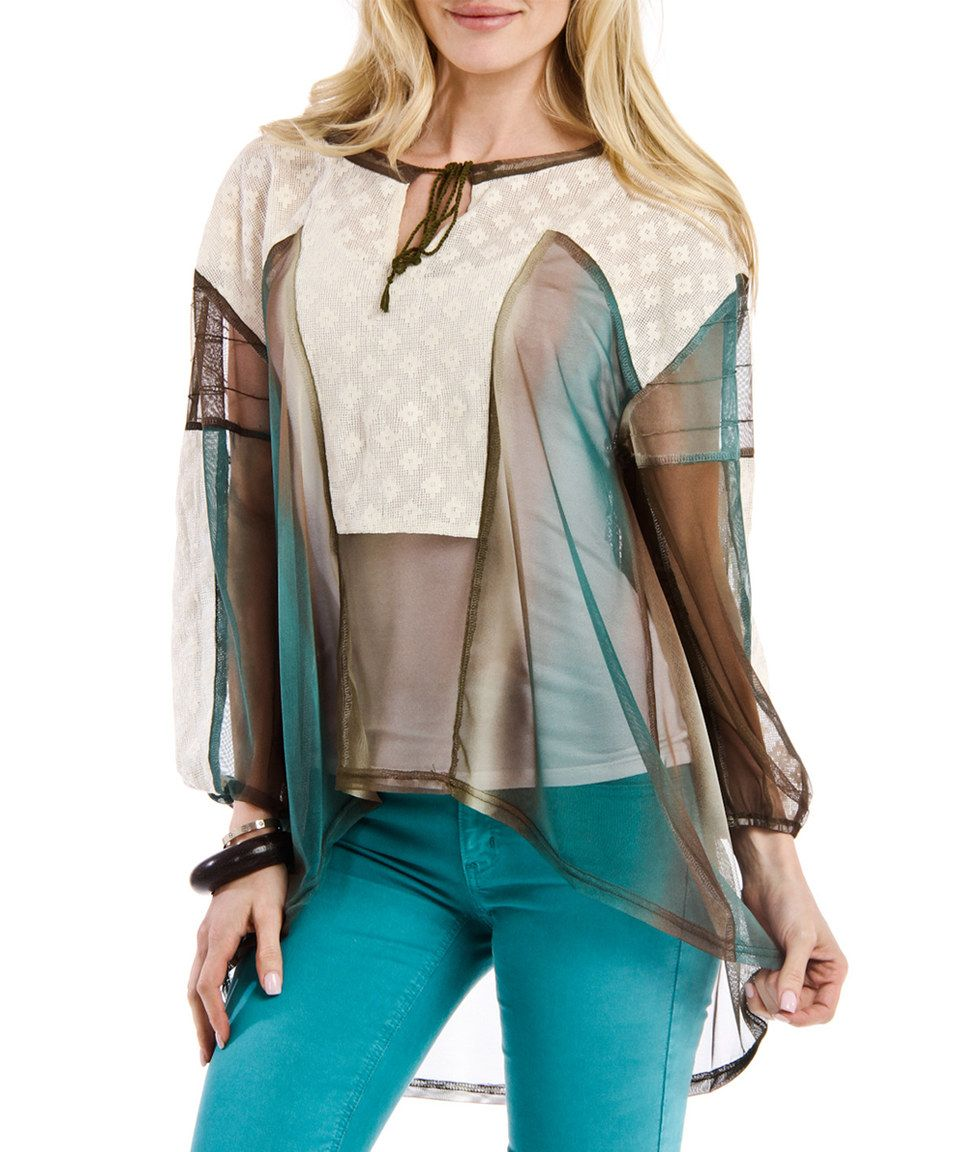 This Green & Teal Sheer Crochet Patchwork Hi-Low Top by Blue Plate is perfect! #zulilyfinds