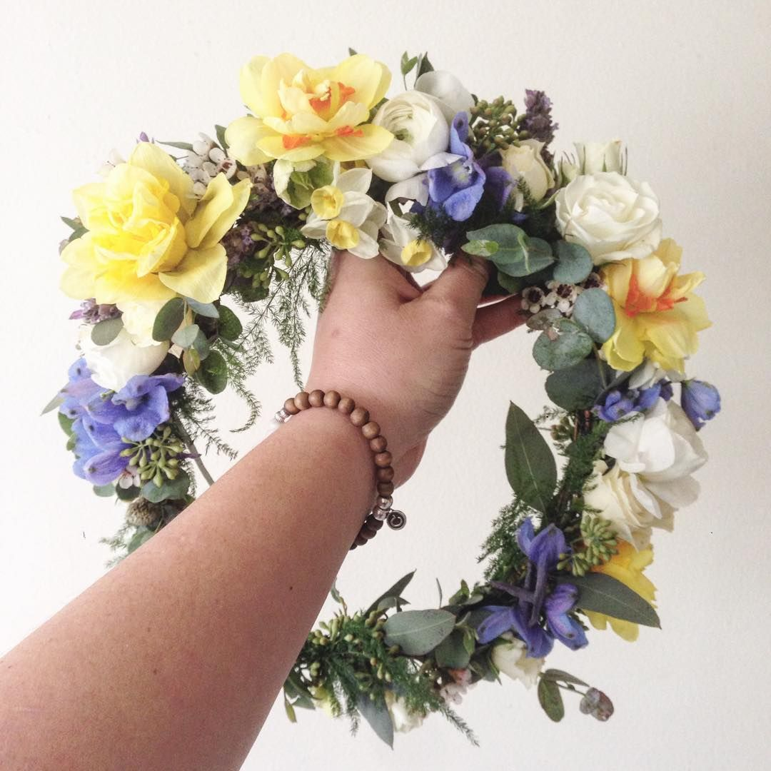 Yellow Daffodils White Ranunculus And Blue Delphinium Flower Crown Www Thecrowncollective Co Yellow Flower Crown