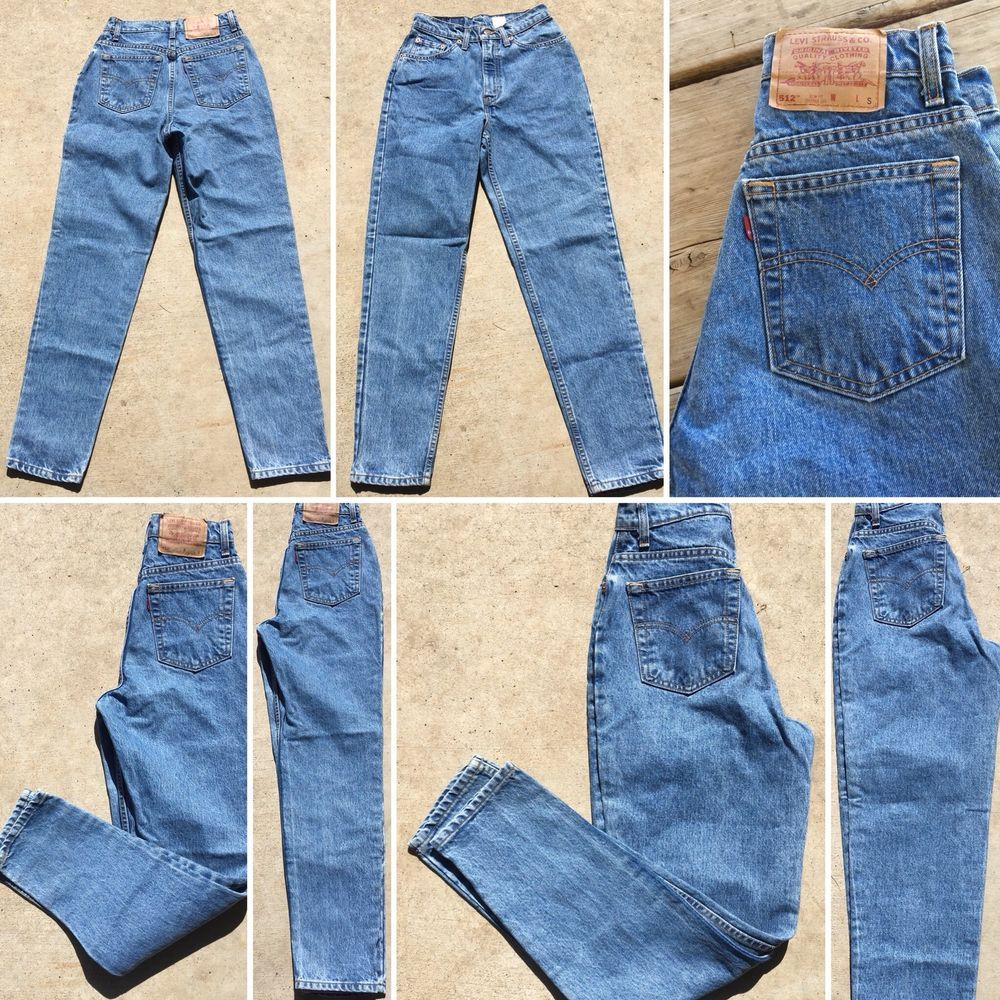 """bf2bc9a29d2 Vintage Levi's 512 Jeans High Eaiat Tapwred Leg Made In USA 7 Short 26""""  Waist   eBay"""