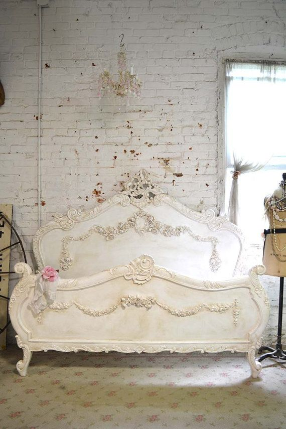 Painted cottage shabby chic french romantic bed queen king bd728 en 2019 muebles pintados - Muebles shabby ...