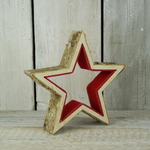 Birch Star With Red Felt D28 cm and 6 cm deep - Christmas