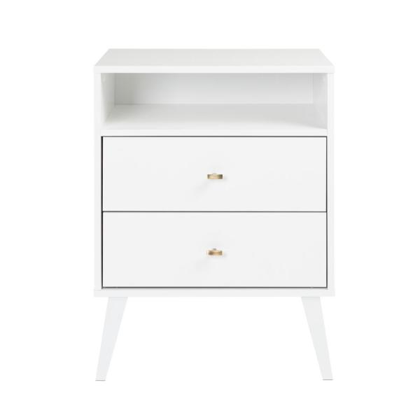 Prepac Milo Mid Century Modern 2 Drawer White Tall Nightstand With