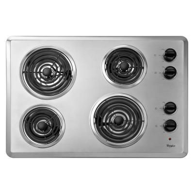Coil Electric Cooktop In Chrome With 4 Elements Wcc31430ar The Home Depot