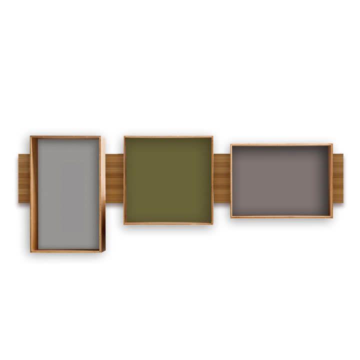 We Do Wood SJ Bookcase Midi, olive / cool grey / dark