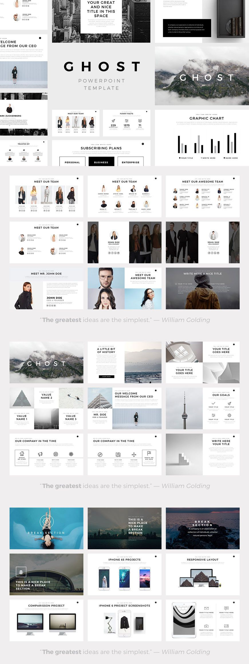 present your works professional and clean with ghost minimal, Powerpoint templates