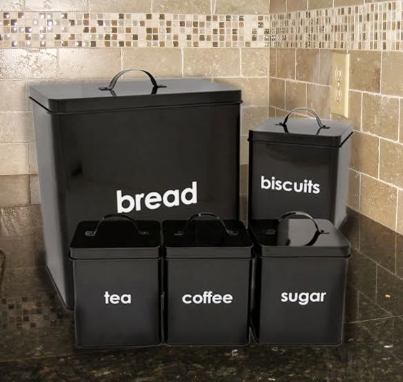 Black Tea Coffee Sugar Canisters 5 Piece Set Jar Bread Bin