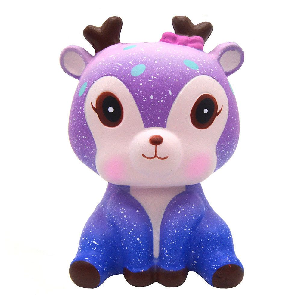 11cm Cute Deer Galaxy Cream Scented Squishy Slow Rising Squeeze Strap Kids  Toys