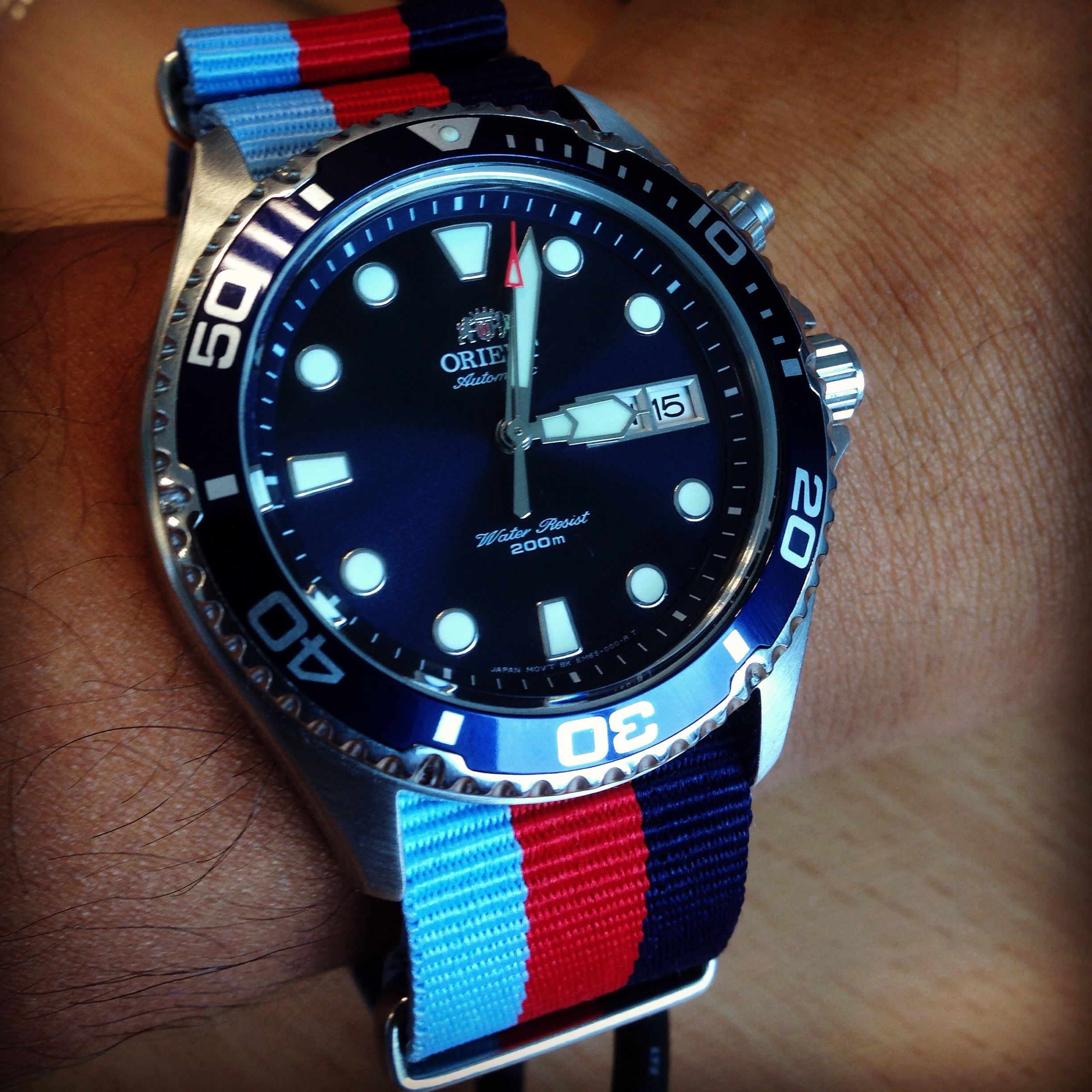 e4d7aae25a Shaking it up a a bit... M3 NATO strap on the Orient Blue Ray. Strap ...