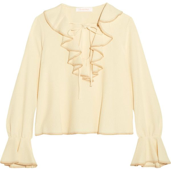 White Ruffled Blouse See By Chloé Cheap Sale Best Place Fast Shipping Cheap Sale Low Shipping Fee RjJbaB8W