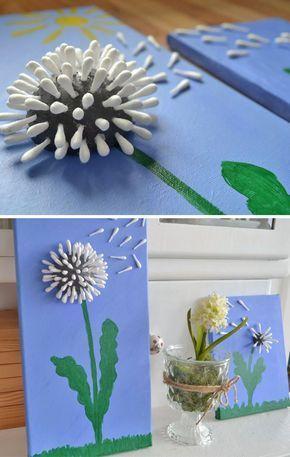 Baumwollknospe Löwenzahn Muttertag Handwerk #muttertag # Handwerk #kinder #pasta #mumsgr … - Diy and Crafts #easypaperflowers