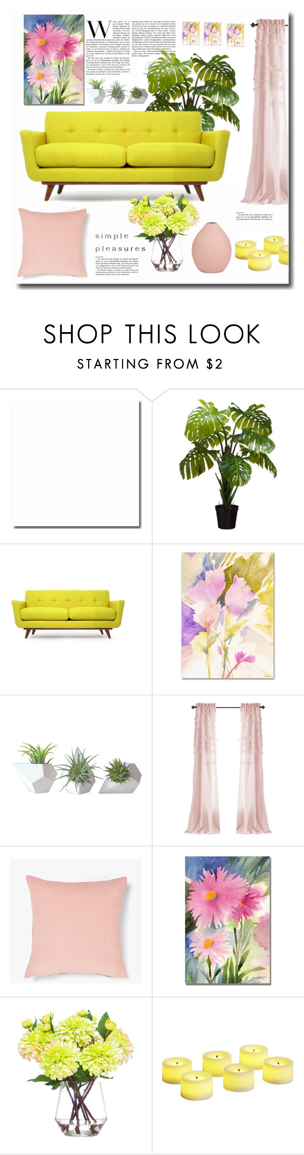 """Yellow"" by jana-masarovicova ❤ liked on Polyvore featuring interior, interiors, interior design, home, home decor, interior decorating, Thrive, Trademark Fine Art, Dot & Bo and Lux-Art Silks"