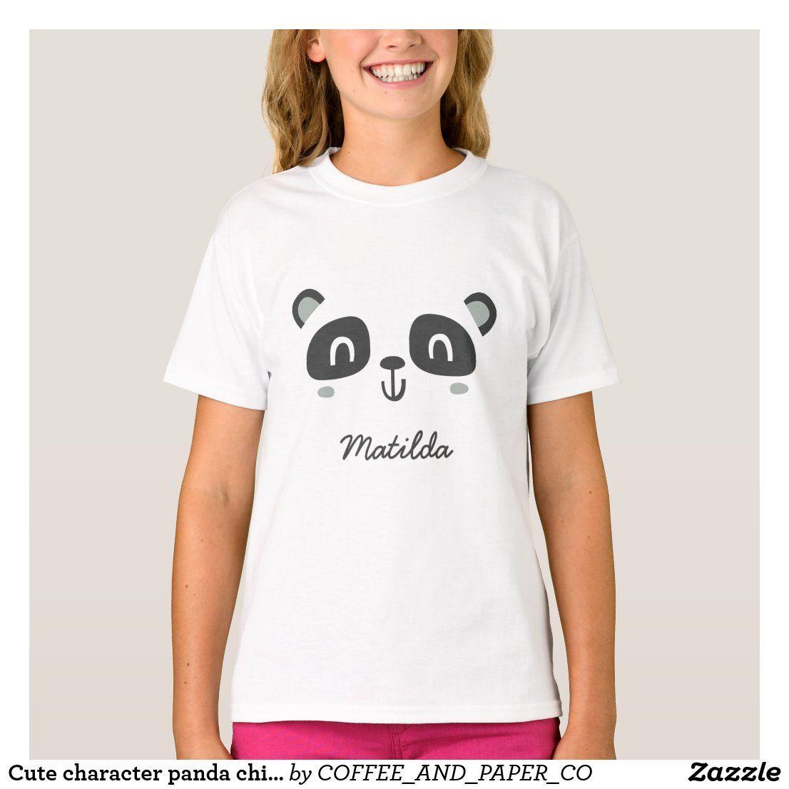 Cute character panda childrens birthday apparel TShirt  apparel