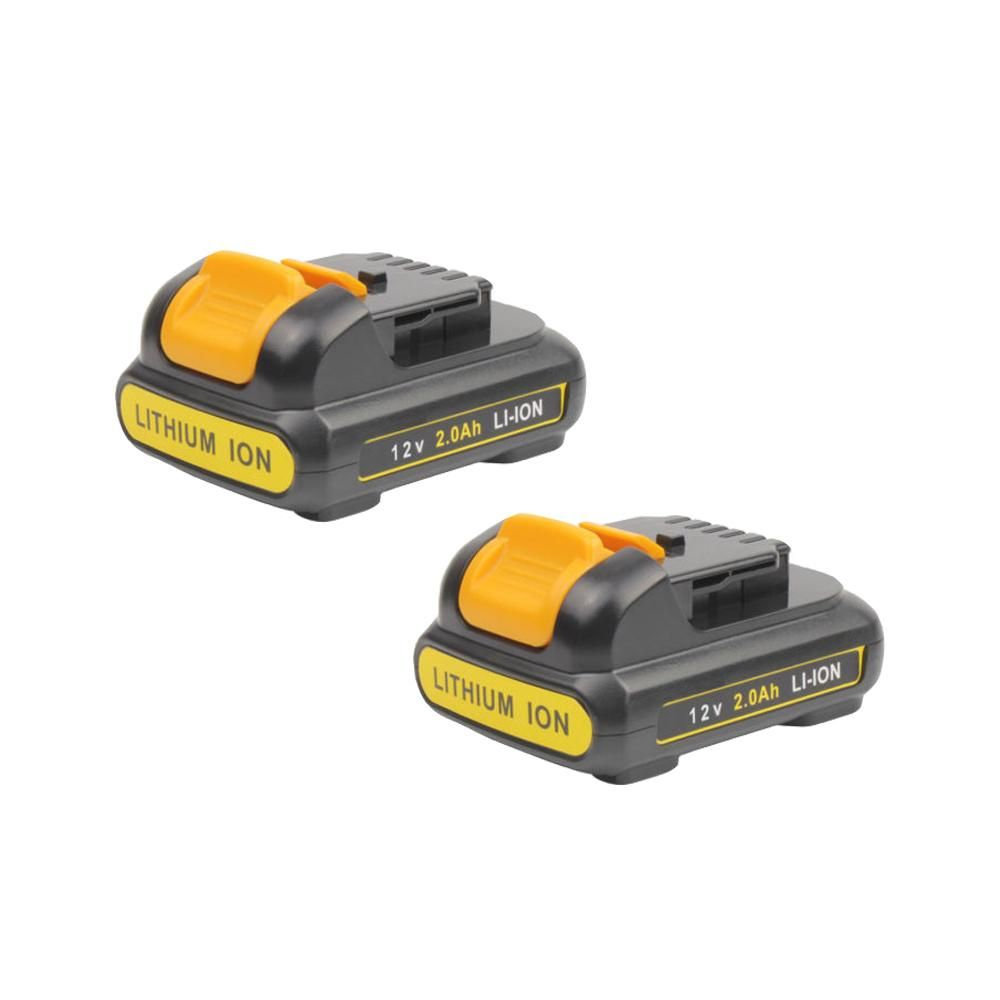 For Dewalt 12v Battery Replacement Dcb120 2 0ah Li Ion Battery 2 Pack Cordless Drill Power Tool Batteries Cordless Tools