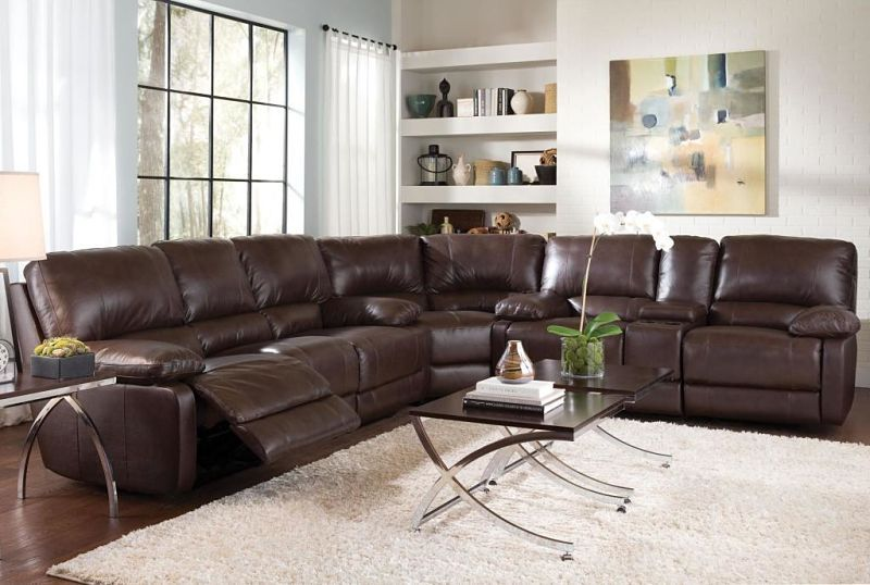 Charmant Geri Reclining Leather Sectional With Power Motion