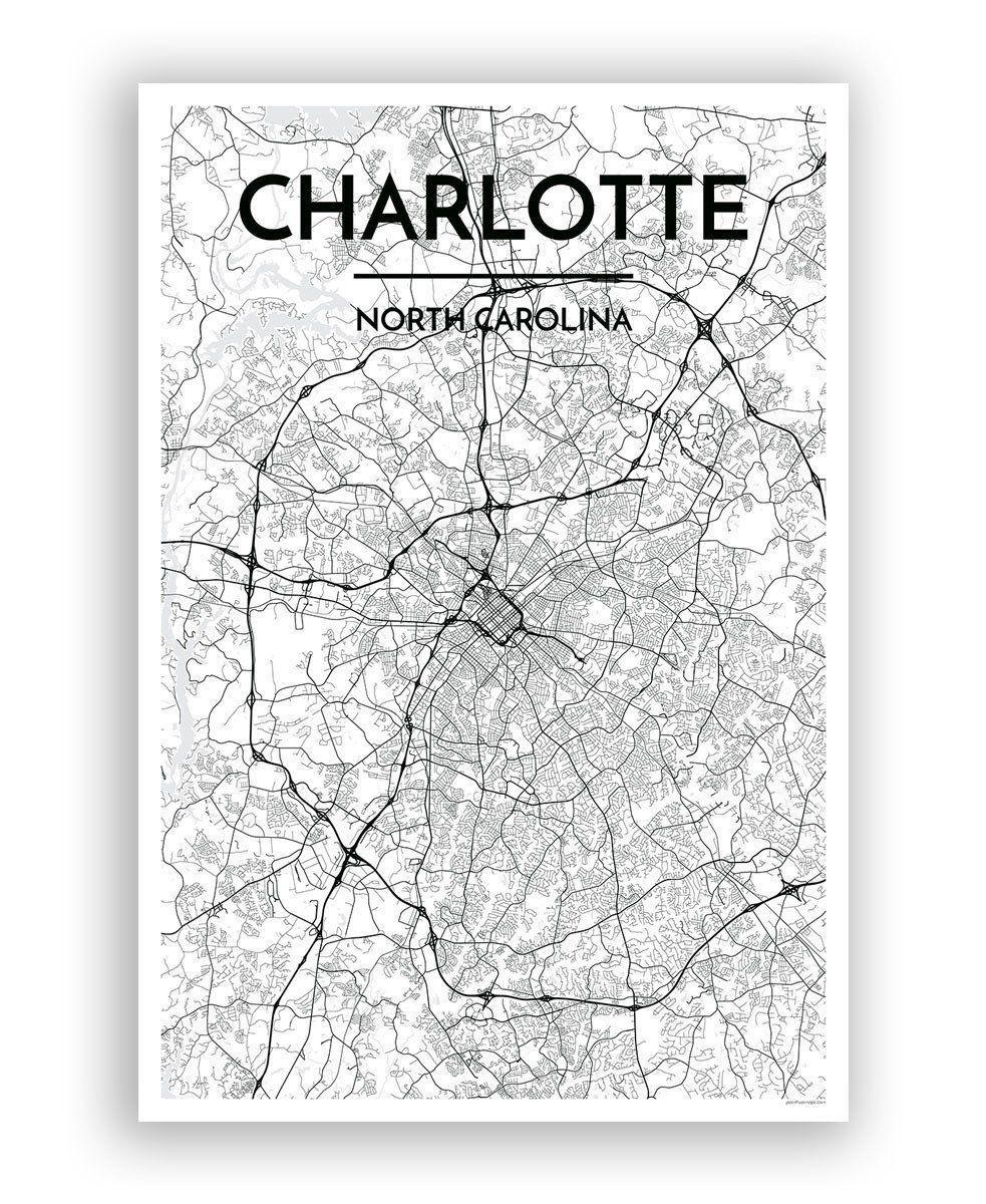 Charlotte Map Art Print Charlotte Uptown Map Art Charlotte City - Us-map-charlotte-nc