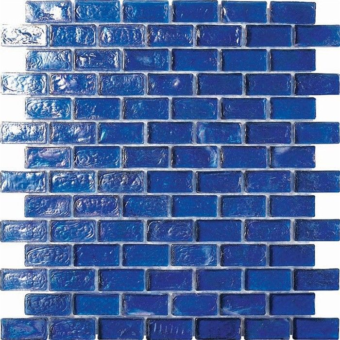Cobalt Blue Irredescent Reflection Rippled Glass Mosaic Brick Tile Mesh Backed Sheet Mosaic Tile Backsplash Kitchen Glass Mosaic Tile Kitchen Backsplash