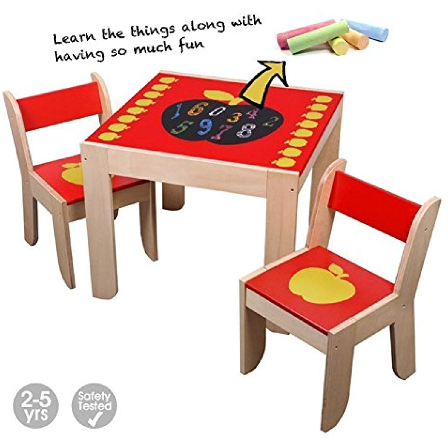 Labebe Wooden Activity Table Chair Red Apple Toddler Table With Chalkboard For 1 5 Years Learning Activity Ta Kids Dining Table Toddler Table Baby Play Table