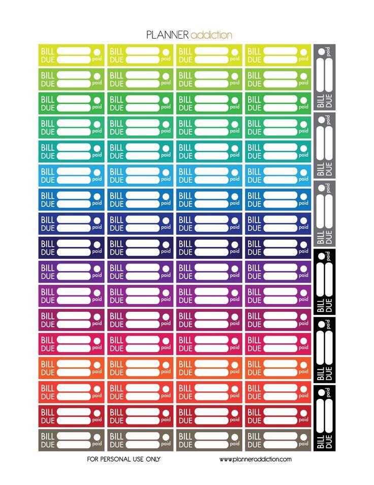 Free printable planner stickers bill due erin condren