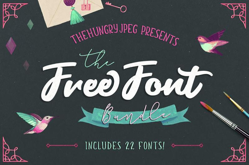Download Free Font Bundle   TheHungryJPEG.com in 2020   Free font ...