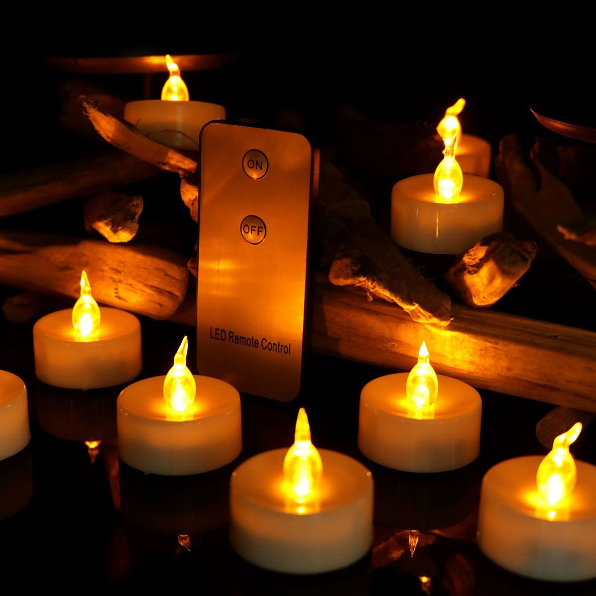 Youngerbaby 12pcs Yellow Flameless Led Tea lights Candle