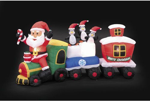 the holiday aisle inflatable santa train christmas decoration - Santa Train Outdoor Christmas Decoration